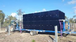 Trailer load of pre-assembled arrays delivered to the field