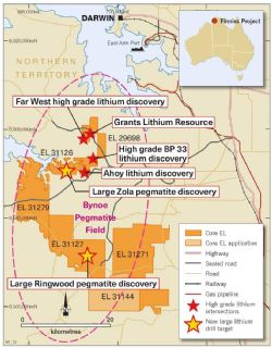 Grants, Zola and Ringwood regional drill target locations Finniss Lithium Project near Darwin, NT.