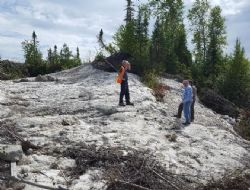 Representatives from MNDM and DST at one of the North Aubry pegmatite exposures