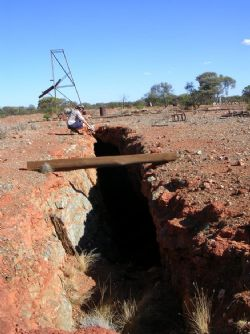 Kombi Gold Prospect – historic workings looking southeast towards the soil anomaly in the background.