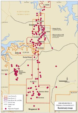Core's new Bynoe and Finniss Lithium Project Tenements and distribution of pegmatite prospects near Darwin NT.