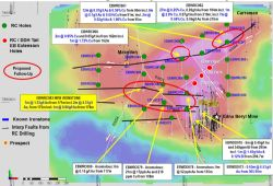 Plan View on residual gravity image of the Edna Beryl Project Area highlighting the locations of the current RC and Deep diamond hole drilling.