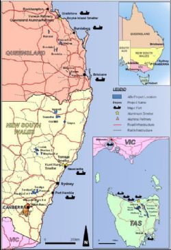 ABx Project Tenements and Major Infrastructure in Tasmania, NSW & QLD, Eastern Australia