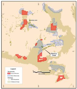 Detailed location plan of Impact's new licences in the East Pilbara