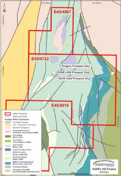 DOM's Hill project showing the location of the DOM's Hill Singer and Northeast Zone gold prospects.