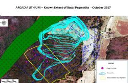 Arcadia Lithium - Known Extent of Basal Pegmatite - October 2017