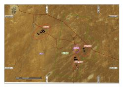 Areas of drilling in the vicinity of the Portia Gold Mine referred to in the text.