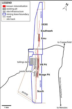 Bottle Creek site layout, showing mining leases, location of existing pits, site infrastructure and known mineralisation.