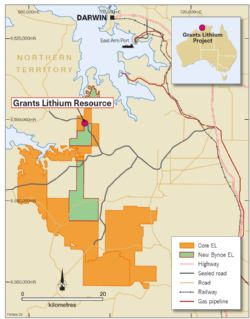Grants Lithium Resource near Darwin NT.