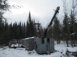 The Forages Rouillier drilling rig on drill pad for hole 17-32