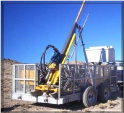 the diamond drill rig at the camp