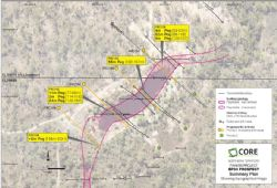 Drill locations and recent pegmatite drill intersections, BP33 Pegmatite.