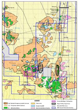 Location of Stage 1 Drilling and Stage 2 Drilling Target areas at Currans Well Co-Cu-Ni Project