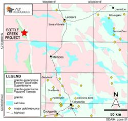 Location of the Bottle Creek Gold Mine, 100 km NE of Menzies.