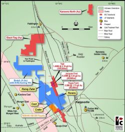 Intermin's Kalgoorlie area gold project locations, regional geology and surrounding infrastructure