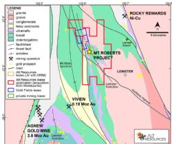 Location of the Mt Roberts Gold Project, relative to major structural and geological elements.