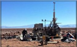 diamond drill rig at the second drill hole of the Kachi project
