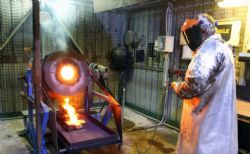 First gold pour at the Lakewood processing facility (courtesy of Kalgoorlie Miner)