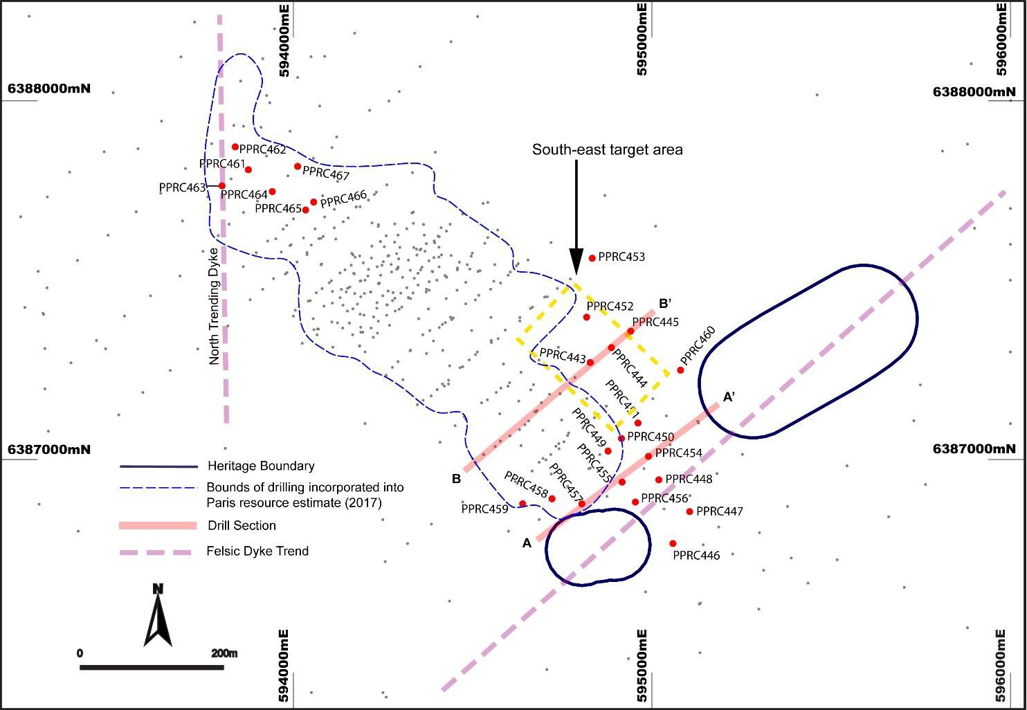 Investigator resources ltd asxivr new drilling shows extensions paris deposit plan showing december 2017 drill hole collars in comparison with past drilling and the pooptronica