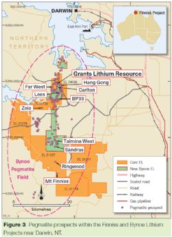 Pegmatite prospects within the Finniss and Bynoe Lithium Projects near Darwin, NT