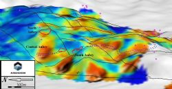 Image of topography soil geochemical analysis looking North showing North, Central and South Aubry prospects