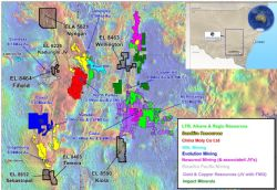 Location of Emmerson Resources NSW Projects plus major explorers and deposits within the Macquarie Arc of NSW.