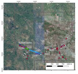 Mustang's ruby project area with pitting and sampling localities indicated.