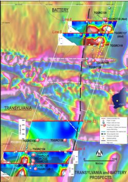 Distribution and surface projection of drill hole traces at Transylvania and Battery prospects