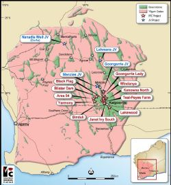 Intermin's gold project and JV locations in Western Australia