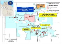 Location of Emmerson's tenement package (light blue), Jasper Hill cobalt-copper-gold project and targets of our next drill program (yellow dots).
