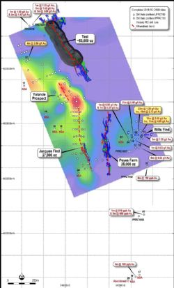 Location Plan of the Teal project area drilling overlaying IP chargeability