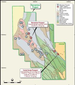 Barramine Project – Geology and Prospect Location Plan