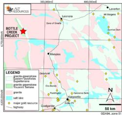 Location of the Bottle Creek Gold Mine, 100 km NE of Menzies