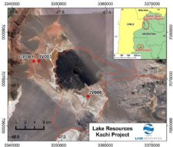 Kachi Lithium Project, showing the location of drill platforms