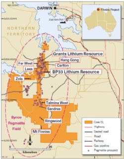 BP33 Resource within the larger Bynoe Pegmatite Field and Core's 100%-owned Finniss Lithium Project