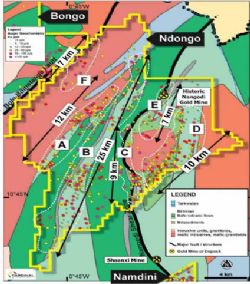 Ndongo Prospecting License - Target Areas Over Geology