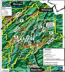 Ndongo Prospecting License - Target Areas Over Magnetics