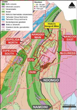 Ndongo Prospecting License showing local prospects