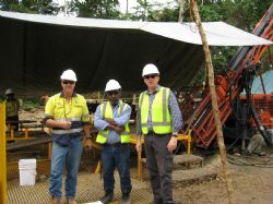 (L-R) Exploration Manager Mike Woodbury, Project Manager Charles Yobone and Managing Director Andrew Corbett at Kulumalia North.