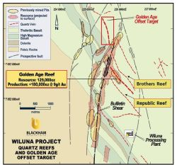 Plan view of Wiluna Project geology and Golden Age location.