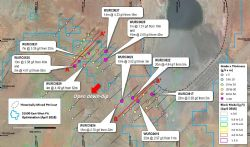 Plan view of significant intercepts from recent drilling at the East-West Cross pit cutback