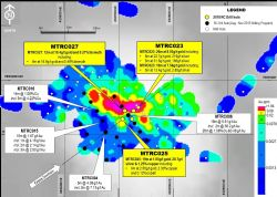 Location of previous drilling (black & white dots) plus recent RC collars (yellow call out boxes)