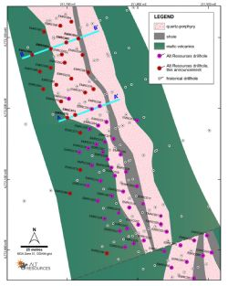 Plan map of new drilling at the Emu Deposit, Bottle Creek, with sections labelled as shown in this announcement