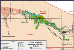 GT Contour Map of the Tumas 3 Uranium Mineralisation
