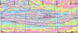 Image of the drill collar locations at the Kasagiminnis Lake Property overlying the 2009 Heli-mag survey results