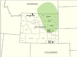 Eon's operated fields and acreage in Wyoming.