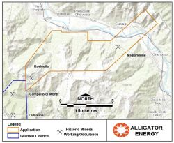 Monte Ventolaro application licence and historic workings/mineral occurrences.