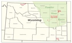 Eon's operated fields and recently acquired acreage in Wyoming.