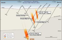 Section 566700mE. KLAC153 is a new hole drilled under KLAC008, with a new lode position identified at depth.