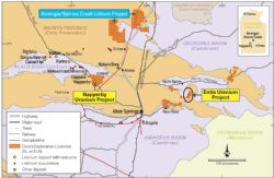 Location of Napperby Uranium Project with respect to Core's NT uranium assets